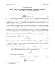 Series Solution of the Time-Independent Schrödinger Equation Lesson Plan