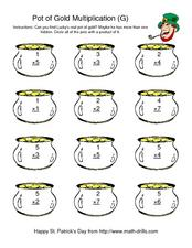 Pot Of Gold Multiplication (G) Worksheet