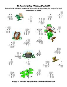St. Patrick's Day Missing Digits (F) Worksheet