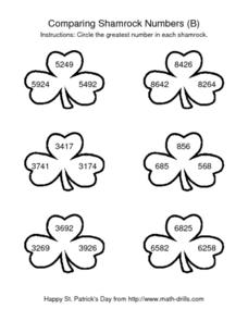 Comparing Shamrock Numbers (B) -- Four Digit Numbers Worksheet