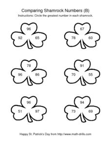 Comparing Shamrock Numbers (B) Worksheet
