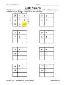 Math Squares 3 Worksheet