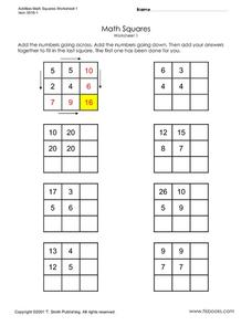 Math Squares 2 Worksheet