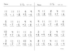 Adding And Subtracting 11's Worksheet