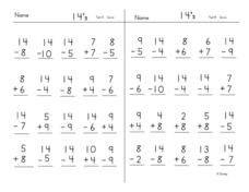 Adding And Subtracting 14's Worksheet