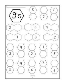 Number 9's Addition Equations Worksheet