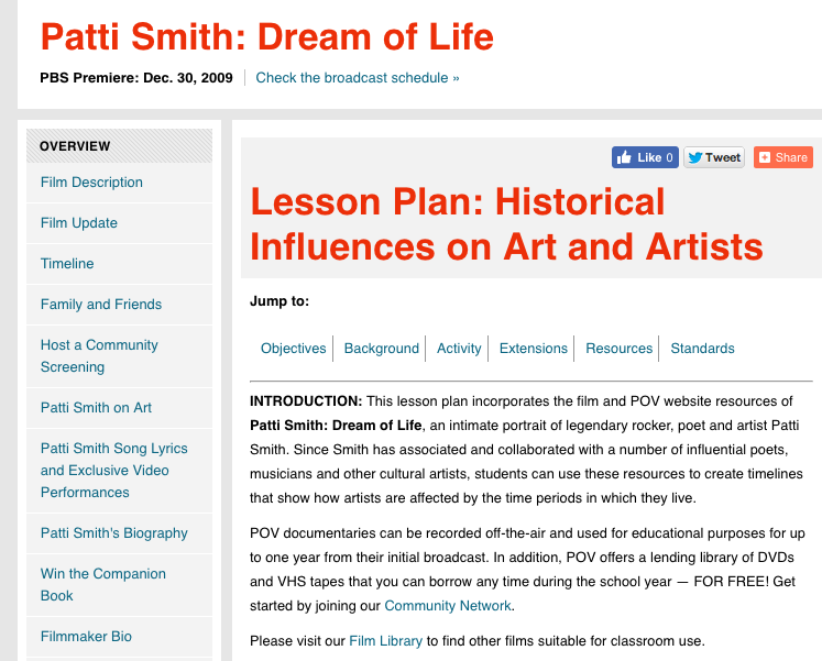 Patti Smith: Dream of Life Lesson Plan