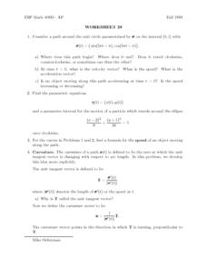 Worksheet 28: Parametric Equations Lesson Plan