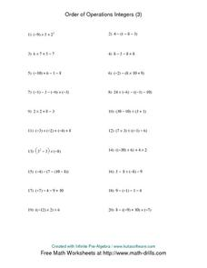 Order of Operations Integers (3) Worksheet
