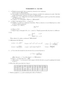 Worksheet 10: Continuous Functions Lesson Plan