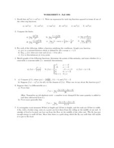 Worksheet 9: Trig Functions Lesson Plan