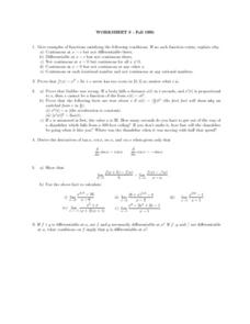 Worksheet 8: Functions and Falling Bodies Lesson Plan