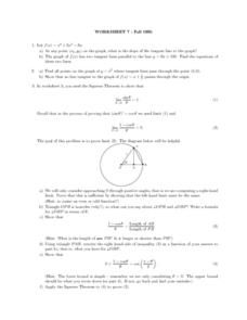 Worksheet 7: Slope and Tangents Lesson Plan