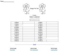 Change the Time (12 Hour Clock to 24 Hour Clock) Worksheet