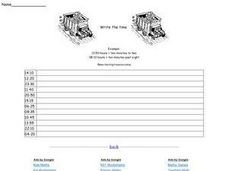 Write the Time : Numbers to Words (24 Hour Clock) Worksheet