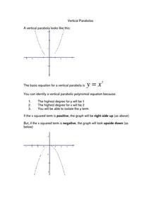 Vertical Parabolas Worksheet