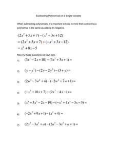 Subtracting Polynomials of a Single Variable Worksheet