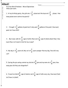 Fraction Word Problems-Mixed Operations Worksheet