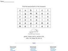 Measurements Crossword Worksheet