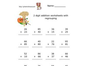 2 Digit Addition Worksheets with Regrouping Worksheet