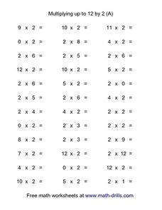 Multiplying Up To 12 By 2 (a) Worksheet