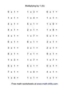 Multiplying By 1 (A) Worksheet