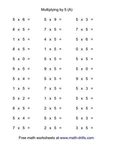 Multiplying By 5 (A) Worksheet