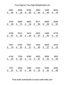 Four-Digit By Two-Digit Multiplication (A) Worksheet