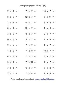 Multiplying up to 12 by 7 (A) Worksheet