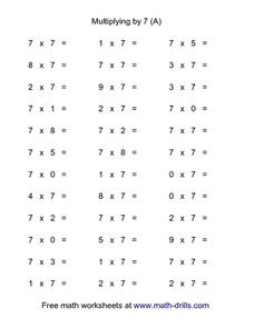 Multiplying by 7 (A) Worksheet