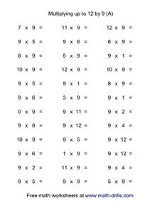 Multiplying up to 12 by 9 (A) Worksheet