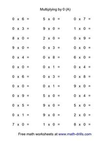 Multiplying by 0 (A) Worksheet