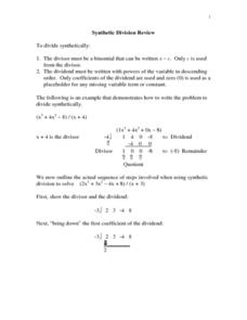 Synthetic Division Review Lesson Plan