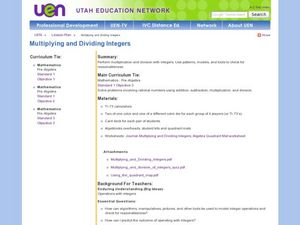 Multiplying and Dividing Integers Lesson Plan