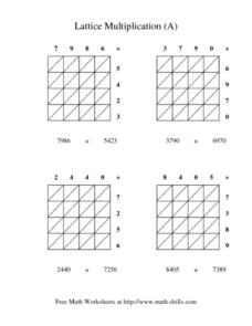 Lattice Multiplication A Worksheet