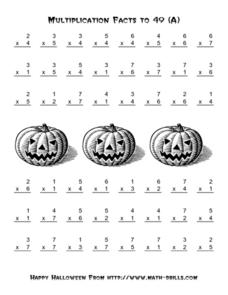 Multiplication Facts to 49-A Worksheet