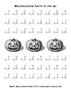 Multiplication Facts to 144 (A)  Halloween Theme Worksheet