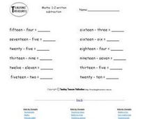 Subtracting Number Words Worksheet