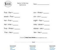 Subtracting Number Words 2 Worksheet