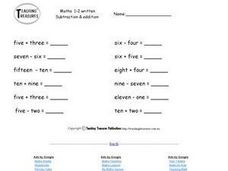 Adding and Subtracting Number Words Worksheet