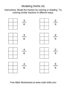 Modeling Sixths (A) Worksheet