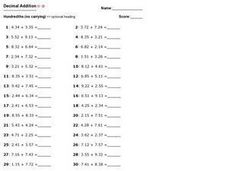 Decimal Addition: Hundredths (No Carrying) Worksheet