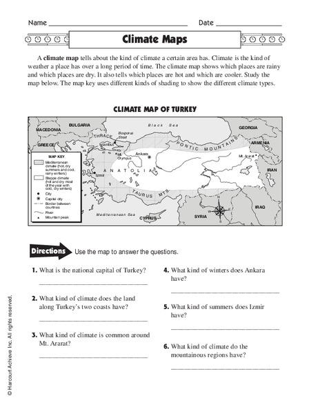 climate maps worksheet for 4th 5th grade lesson planet. Black Bedroom Furniture Sets. Home Design Ideas