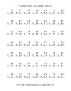Two-Digit Tenths by Two-Digit Tenths (A) Worksheet