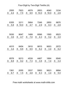 Four-Digit by Two-Digit Tenths (A) Worksheet