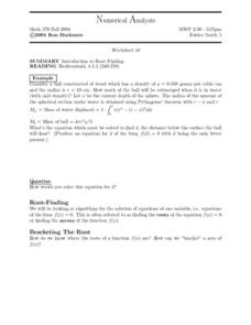 Numerical Analysis:  Introduction to Root Finding Worksheet