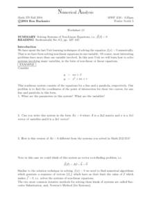 Numerical Analysis:  Solving Systems Of Non-Linear Equations Worksheet
