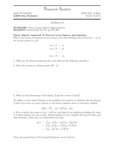 Numerical Analysis:  Discrete Least Squares Worksheet
