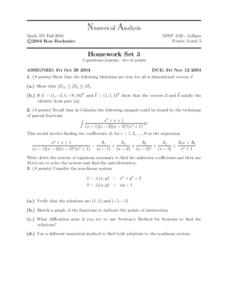 Numerical Analysis:  Dimensional Vectors Worksheet