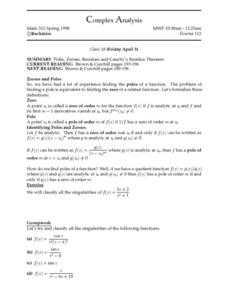 Complex Analysis:  Cauchy's Residue Theorem Worksheet